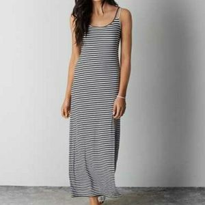 American Eagle black and striped Maxi Dress M